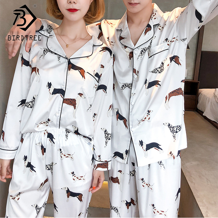 2018 Autumn New Arrival Women Fashion Pajamas Two Piece Sets Sweet Dog Print Slim Tops And Long Pants Female Suit Hots S80010Q