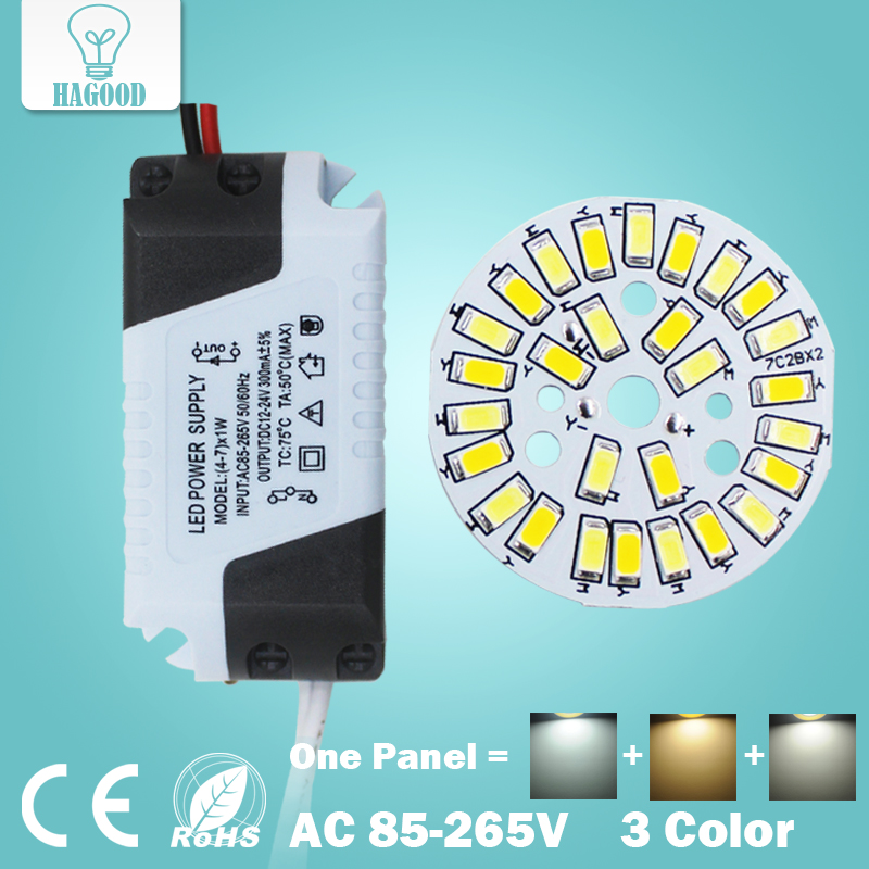 1pcs 3W 5W 7W 9W 12W 18W SMD5730 Warm/Cold White Combined Color panel + Segmented control LED driver power supply for downlight