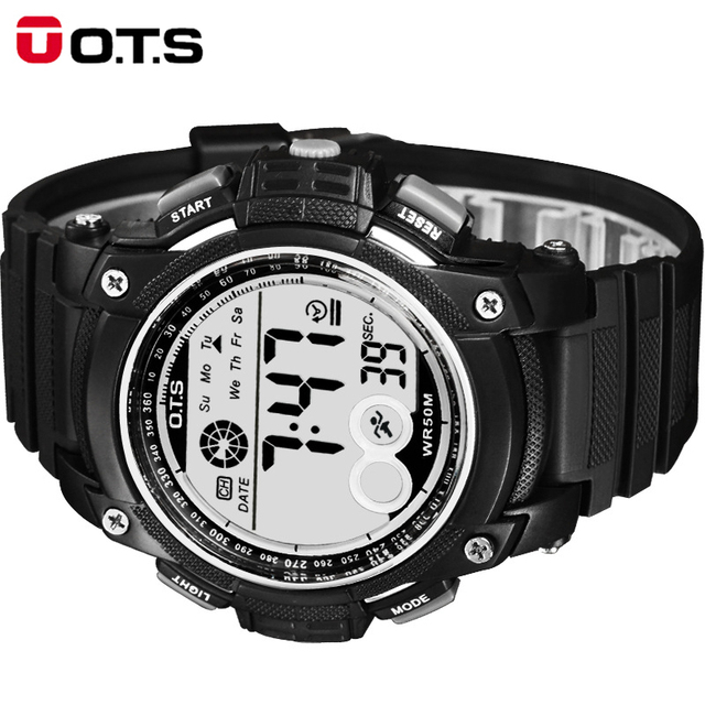 OTS Male Watch Digital Sports Men Led Watch Waterproof Wristwatches for Big Dial Clock Military Outdoor Luminous Watches Relogio
