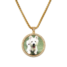Personalized Pet Picture Necklace Pendant Gift For Family Bling Cubic Zircon Chains Photo Men Jewelry VIP