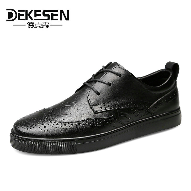 Dekesen 2018 New classic Mens Casual shoes Oxford style business handmade lace-up leather bullock Black comfortable deby brogues hot sale mens italian style flat shoes genuine leather handmade men casual flats top quality oxford shoes men leather shoes