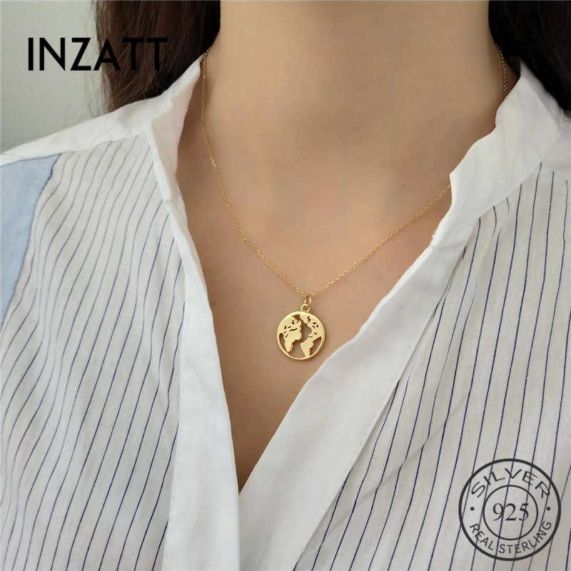 INZATT Unique Design Hollow Round World Map Bohemia Pendant Necklace 100% 925 Sterling Silver Fine Jewelry For Women Party Gift