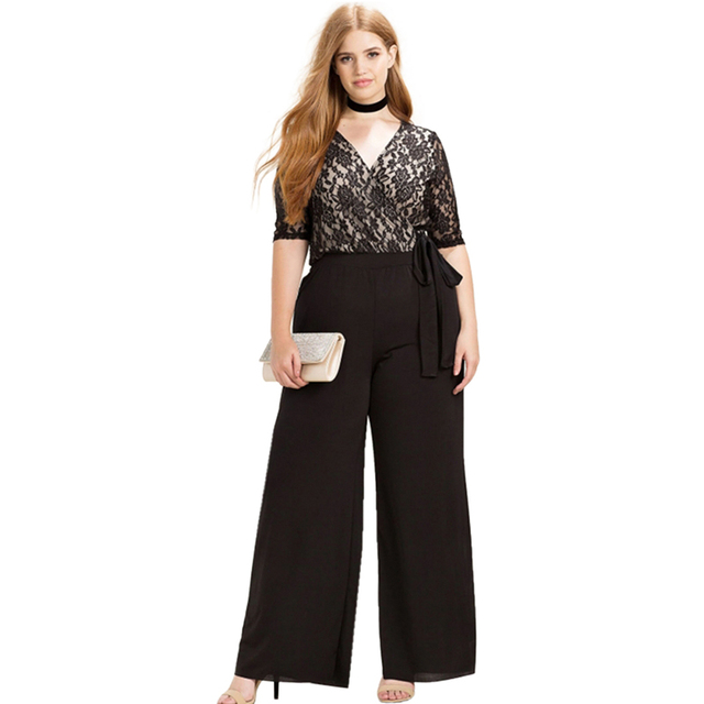 96271ccd756 Plus Size Fashion Women Clothing Casual Solid Sexy Lace Patchwork Pants  Slim Big Size Wide Leg Pants 3XL 4XL 5XL 6XL