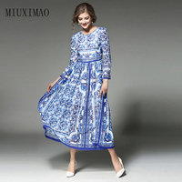 HIGH QUALITY Newest 2017 Fashion Women S Long Sleeve Vintage Blue And White Print Dress Brand
