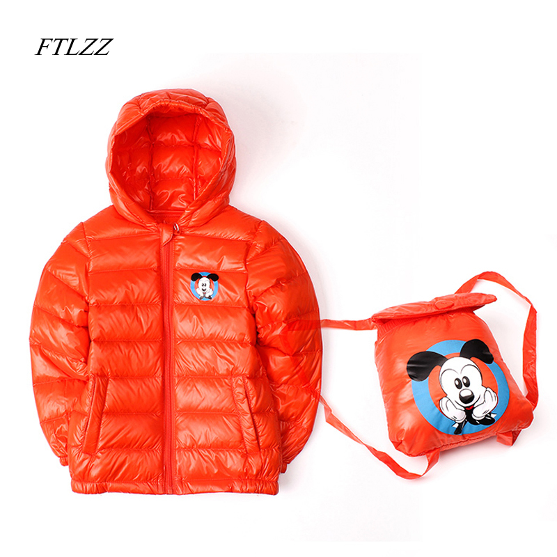 FTLZZ Children Candy Color Warm White Duck Down Jackets Boy/Girl Clothes Kids Sports Hooded Ultralight Soft Down Zipper Coat