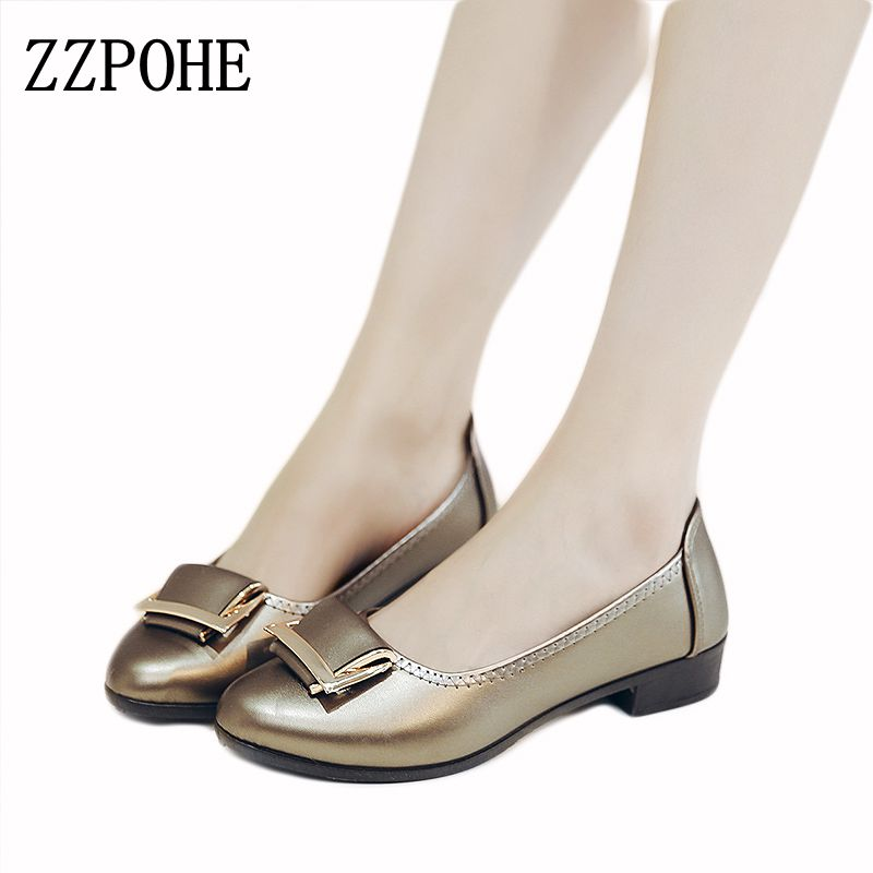 ZZPOHE spring new soft-soled woman singles shoes wild side button women's flat shoes casual non-slip comfortable mother shoes 41 zzpohe women shoes spring soft soled mother black single shoes leather non slip casual comfortable middle aged ladies flat shoes