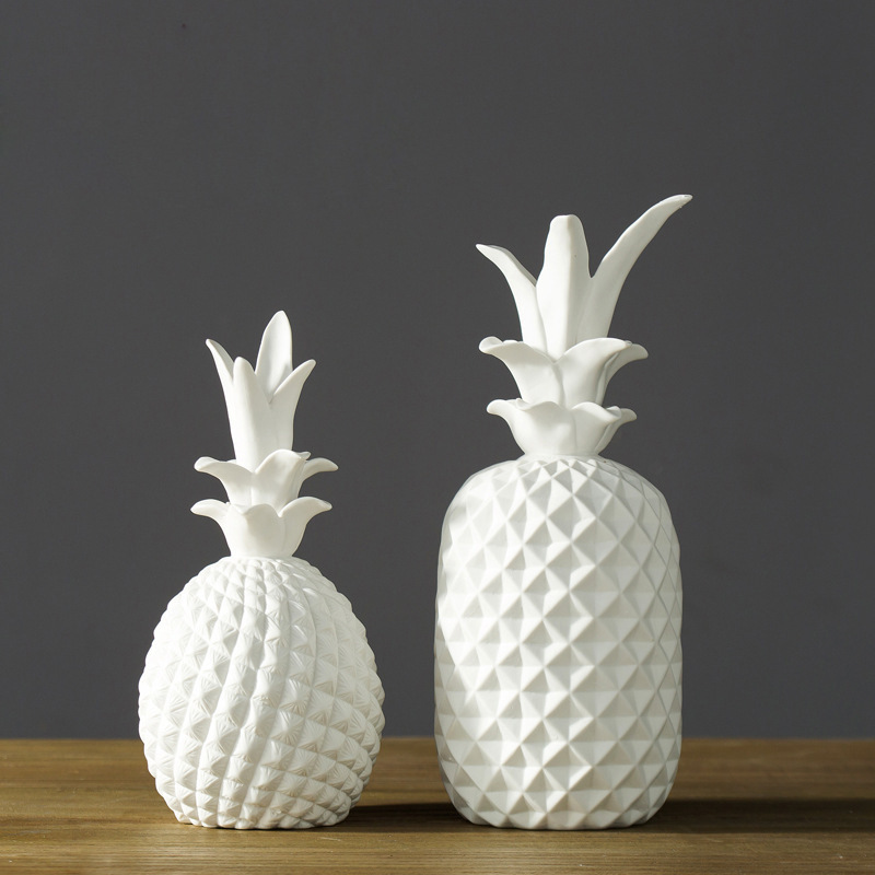 Big White Ceramic Simulation Abstract Pineapple Home Decor Crafts Room  Decoration Handicraft Porcelain Figurine Articles Gift