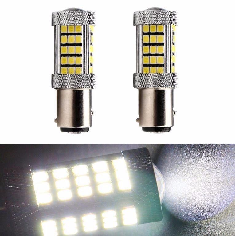 2pcs 1156 BA15S High Power Projection 63-SMD 2835 Super Bright White LED Backup Reverse Turn Signal Brake Taillight License Lamp