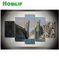 HOMLIF 5pcs 5D DIY Diamond Painting The Lord Of The Rings Stitch Landscape 3D Diamond Embroidery