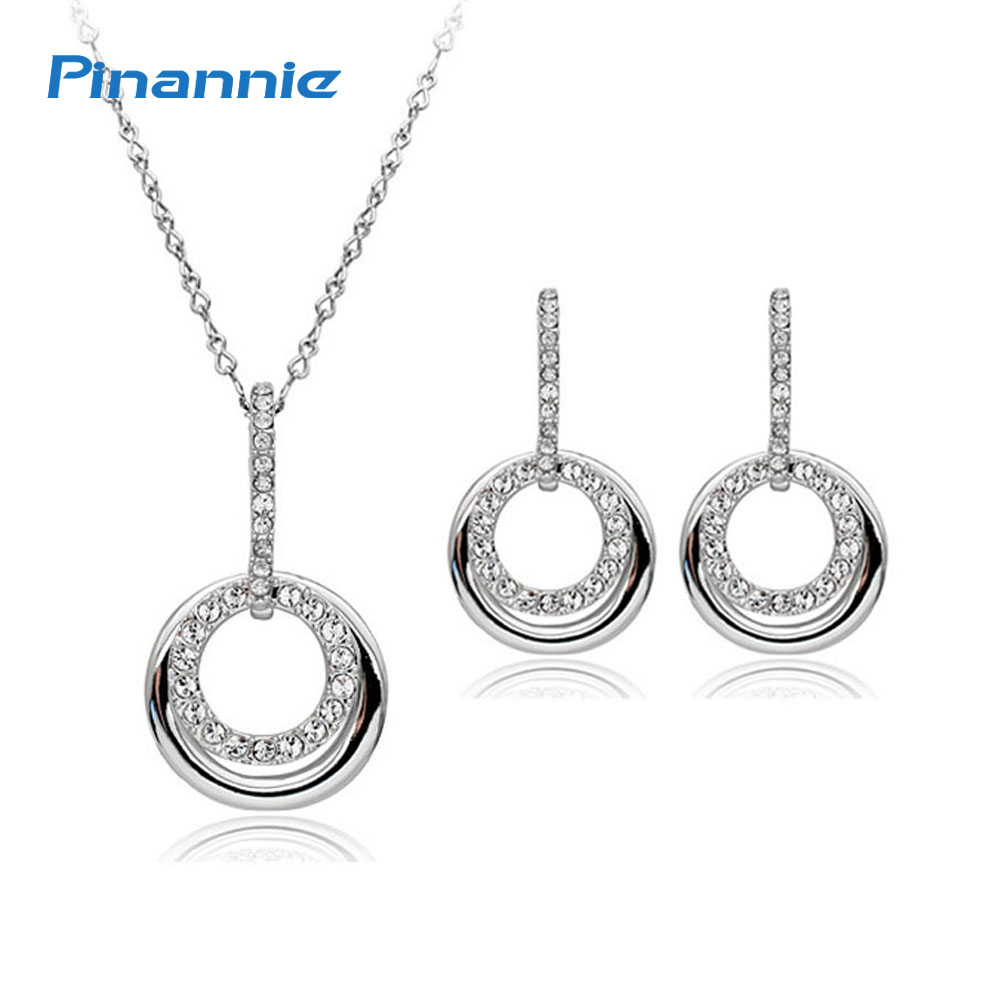 Pinannie 100 Austria Rhinestones Italina Rhodium Plated Jewelry Set