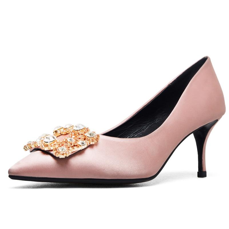 rose rouge Mode Hauts Talons Strass bleu De Bal Sexy Noir Fedonas Femme Pointu Mince Bout Pompes Élégante Partie Chaussures Soie Mariage 11RgH