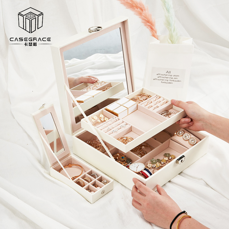 Casegrace nouvelle boîte de rangement de bijoux en cuir PU pour bijoux boucle d'oreille anneau collier organisateur grande capacité miroir boîtier de serrure Joyeros