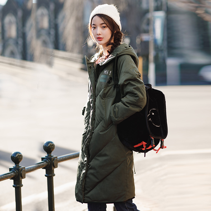 Image 3 - INMAN Hooded Printing Leisure Ladies Female Girl Winter Long Duck  Down Leather Warm Coat Women Jackets Fashion Overcoatovercoat  fashionovercoat womenovercoat long