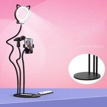 Mobile Phone Live Bracket Cell Phone Holder With Selfie Ring Light Microphone Clip Lazy Bracket Desk Phone Holder
