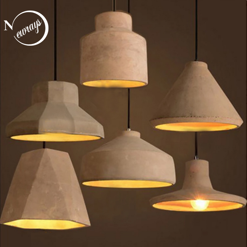 Vintage creative cement hanging pendant lamp 220v E27 LED light with switch lighting fixture for kitchen bed room parlor cafe