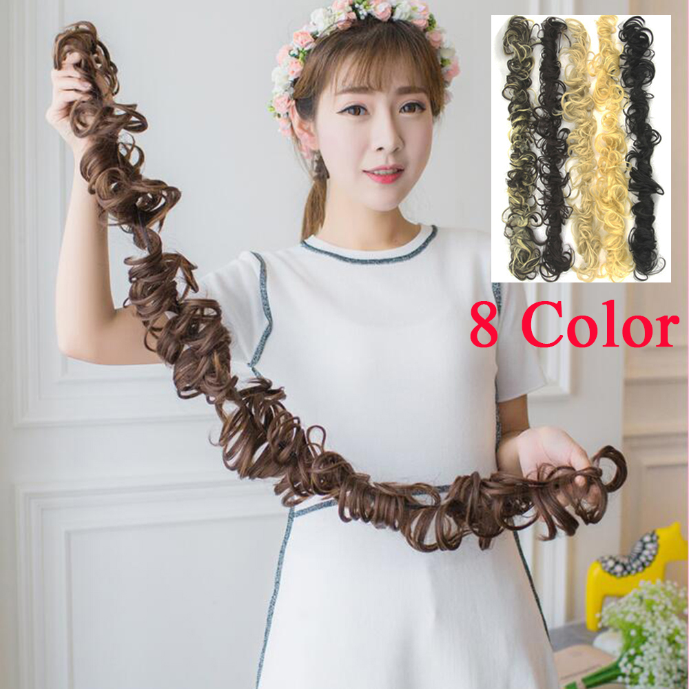 Soowee 5pcs/lot Synthetic Hair Bun Curly Hair Headband Hair Accessories Chignon Donut Roller Hairband Elastic Scrunchie UPDO