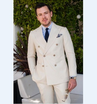 Double Breasted Beige Groomsmen Tuxedos Elegant Best Man Wedding Suits Men's Casual Prom Party Suits 2017 (Jacket+Pants+Tie)