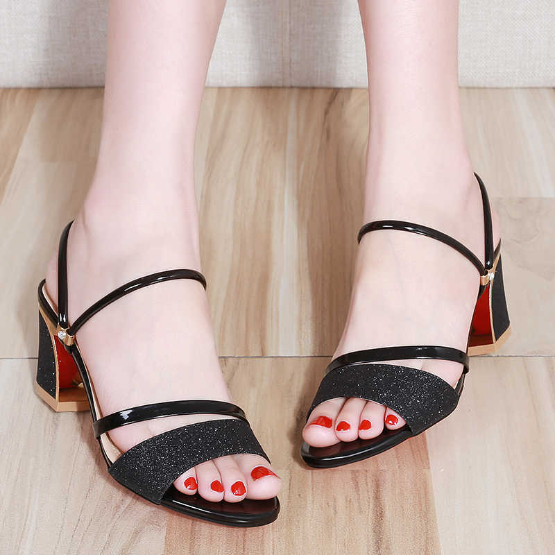 397902e303 ... 2019 New Summer women flat Sandals shoes women Square heel Sandalias  Buckle Sandals High Heels Strap ...