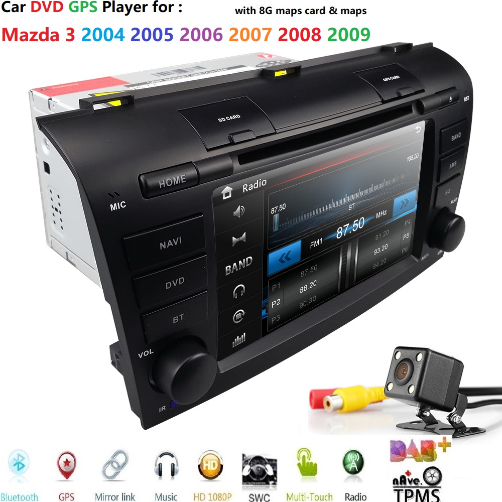 Hizpo car multimedia dvd radio For <font><b>Mazda</b></font> <font><b>3</b></font> Mazda3 2004-2009 tape recorder car dvd <font><b>gps</b></font> Navigation stereo Player SWC RDS CAM <font><b>MAP</b></font> image