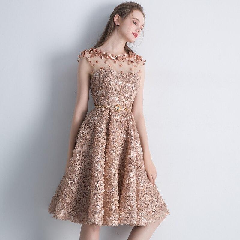 06af5af5b4f2c SSYFashion New Elegant Lace Evening Dress Bride Banquet Simple Khaki Short  Sleeveless Formal Party Gown Custom Robe De Soiree