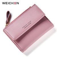 WEICHEN Hasp Zipper Short Standard Wallet Hot Fashion PU Leather Solid Coin Card Purse Wallets For