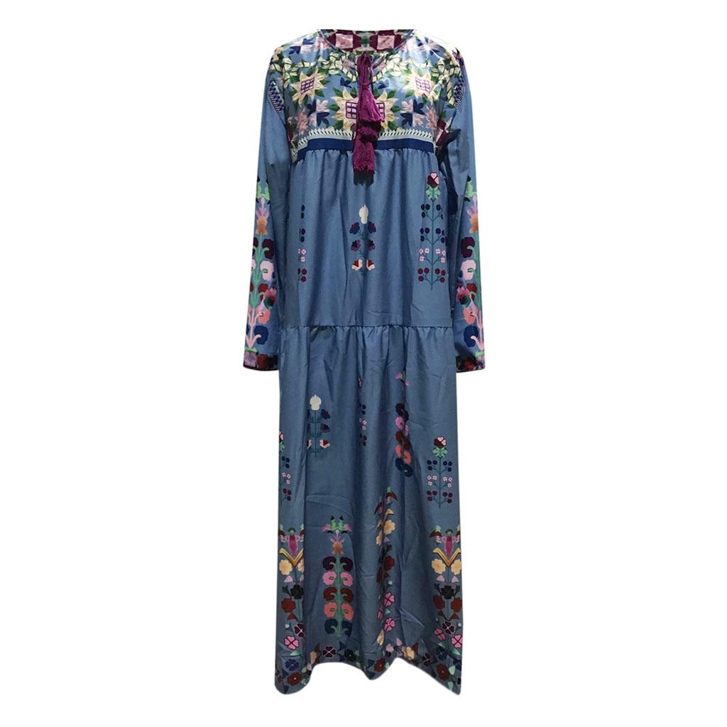 Women Plus Size Maxi Dress V Neck Print Lace Up Long Sleeve Boho Dress Women Party Maxi Dresses Casual Dresses vestido longo