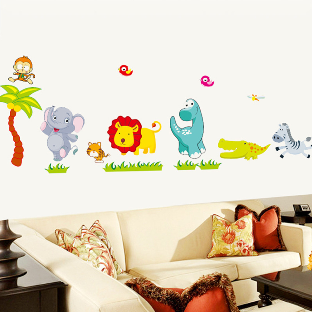 Cartoon jungle wild animals diy 3d vintage wallpaper vinyl wall cartoon jungle wild animals diy 3d vintage wallpaper vinyl wall stickers for kids rooms child wall art decals home decoration in wall stickers from home amipublicfo Images