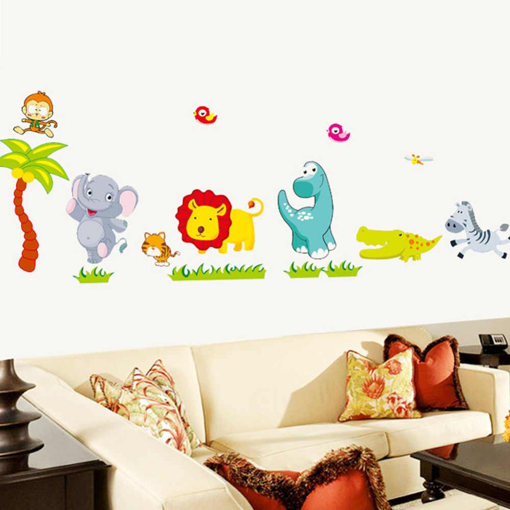 Vinilos Pared Vintage.Dibujos Animados Selva Animales Salvajes Diy 3d Papel Pintado Vintage Vinilo Pared Pegatinas Para Ninos Habitaciones Ninos Pared Arte Calcomanias