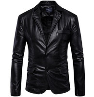 New Mens Retro Motorcycle Jacket PU Leather Blazers Slim Fit Blazer Spring Autumn Leather Blazer Men
