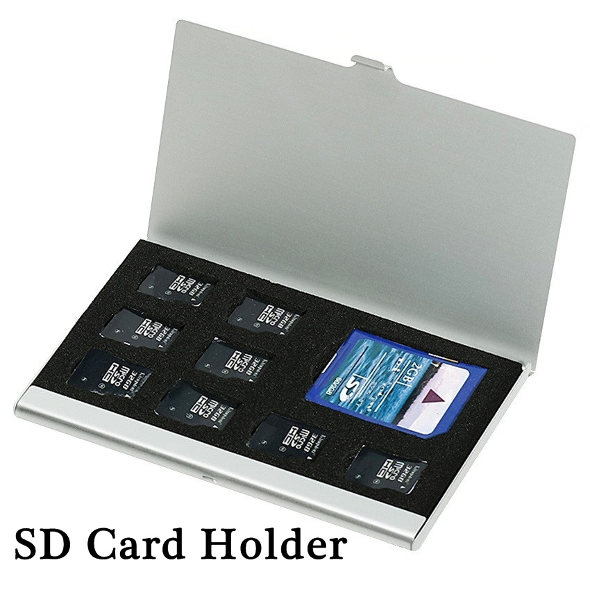 8 In 1 Portable Aluminum Micro For TF SD SDHC TF MS Memory Card Storage Case Protector Holder SIM Card Case Accessories