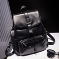 Casual fashion Pu leather backpack black rope Women's backpack mochilas hombres 2016 mochila feminina escolar woman bag