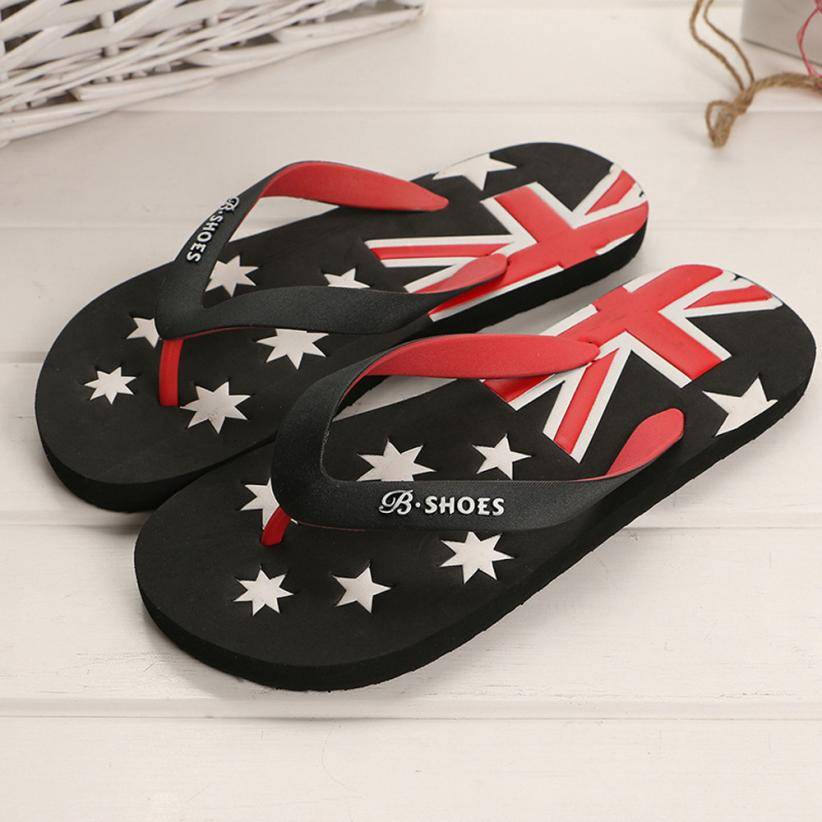 Fashion Slippers Men American Flag Anti Skidding Flip Flops Slipper Sandals Beach Shoes Flat Male Indoor Outdoor Size 40-44