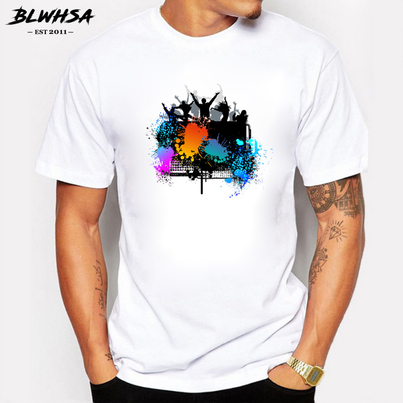 BLWHSA Fashion T-shirts Funny Man's Personality Cotton Summer Style Tshirts Music Song of Youth Best Friends Series Tops T shirt image