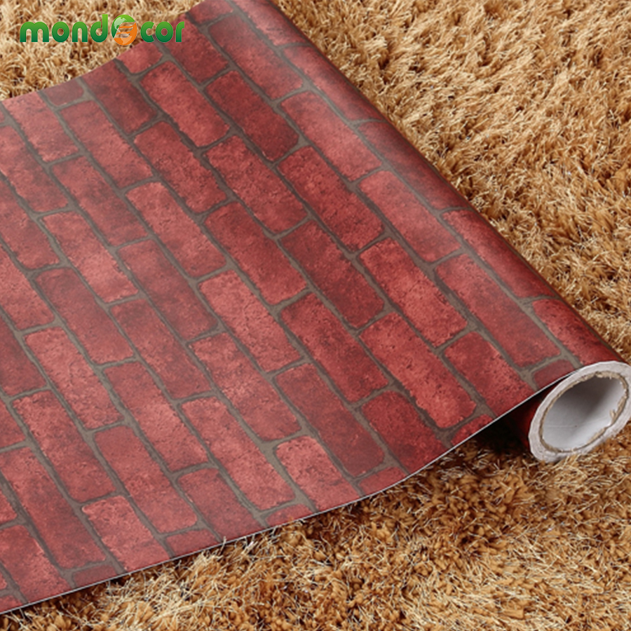 Modern pvc self adhesive wallpaper brick wall roll modern for Wallpaper home improvement questions
