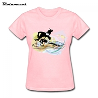 New Summer Style Fashion T Shirt Short Sleeve Cotton T-shirt Women T-shirt Tees Printed Girl Figure Skating Image WTY025