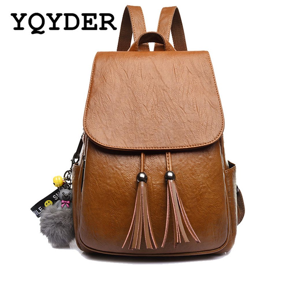 New Design Tassel Women Backpack PU Leather Backpack for Girls Vintage School Shoulder Bag Large Capacity Bagpack Female Mochila retro tiny bell tassel anklet for women