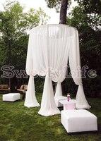 Круг Свадебный Полог Шторы с подставкой Свадебный павильон фон Шторы чистого белого цвета 2 м Диаметр по 3 м Tall