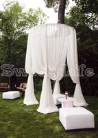 Circle Wedding Canopy Curtain with Stand Wedding Pavilion Backdrop Curtain pure white color 2M Diameter by 3M Tall