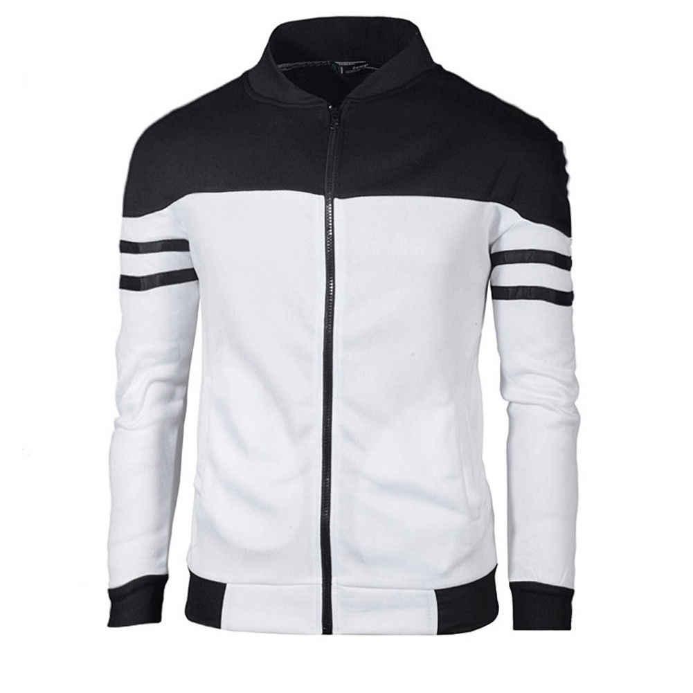新メンズカジュアルスリム無地パーカージャケットフリースジップアップポケットスウェットシャツフード付きジッパーストライプトップスプラスサイズカジュアルジャケット