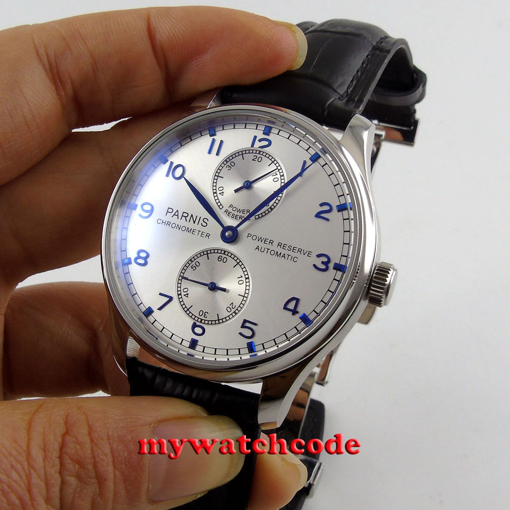 43mm parnis silver dial power reserve ST 2542 automatic mens watch P99C