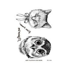 RC2258 Owl Tattoo Disposable 3d Waterproof Body Art Arm Hand Cat Temporary Tatoo Stickers Paste Pattern