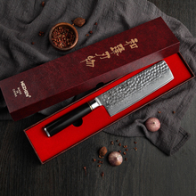 цена на HEZHEN 6.8 inch Butcher's Knife Chinese Kitchen Knives Damascus Forged Steel Nakiri Vegetable Kitchen Tool with Ebony Handle
