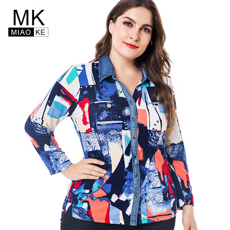 Miaoke plus measurement womens tops and blouses clothes 2018 autumn new style long-sleeved printed blouses 4XL 5XL 6XL Blouses & Shirts, Low cost Blouses & Shirts, Miaoke plus measurement...