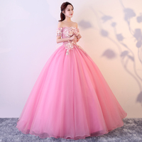 Off The Shoulder Pink Princess Quinceanera Dresses Boat Neck Short Sleeves Appliques Sweet 16 Quinceanera Dress Puffy Ball Gowns