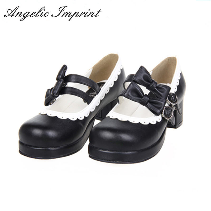 Women's Sweet Lolita Shoes Double Bow Buckle Straps White Lace Trim Mary Jane Pumps Shoes юбка strawberry witch lolita sk