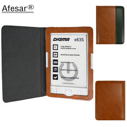 Afesar Flip Cover For Digma E63s E63sdg eReader pu leather book Case magnetic clasp flip good fit R63s R63sdg ebook pouch capa