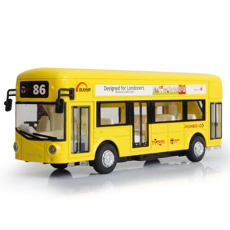 1:50 Mini Alloy Diecast City Bus toy for children Pull Back Sound Light Function Toy Red Bus Birthday Gift For Kid Boys