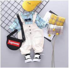 2019 Autumn Baby Infant Clothing Suits Toddler Boys Clothes Sets Plaid T Shirt Bib Pants Kids Children Costume Suit цена в Москве и Питере