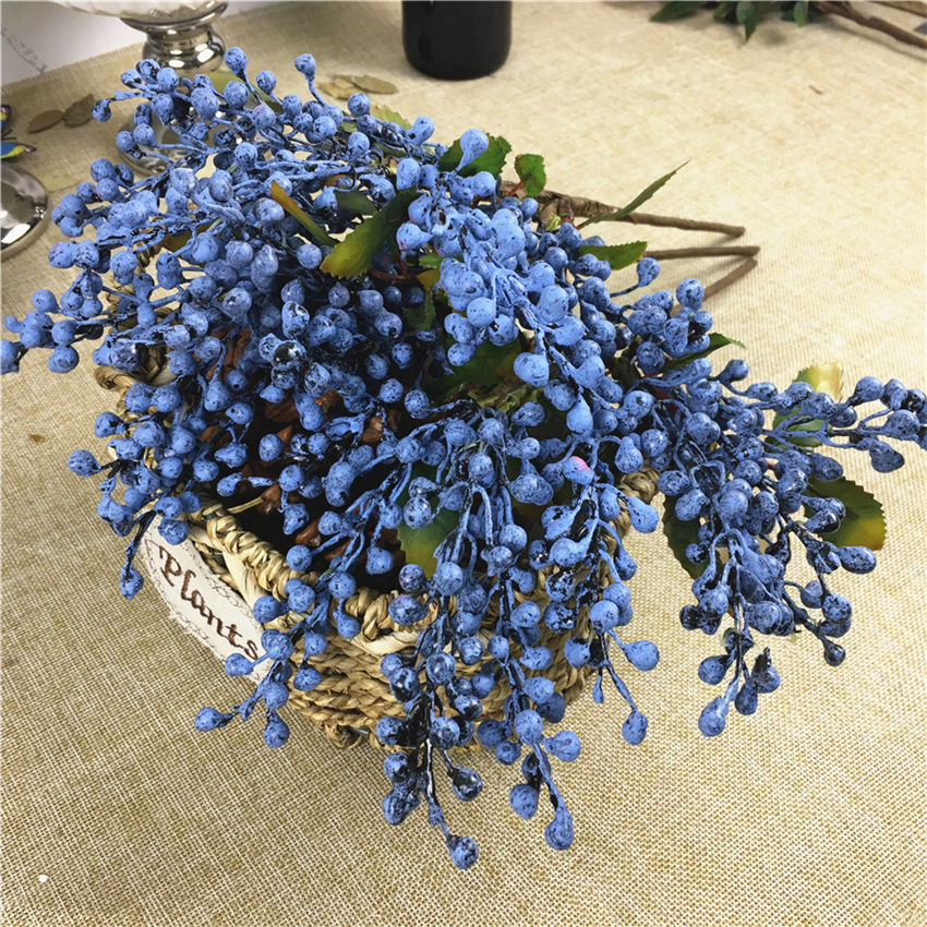 Blue Bean Berry Branch Plastic Fake Plants Berries For Home Garden Wedding Decoration  DIY Wreath Supplies Faux Flowers