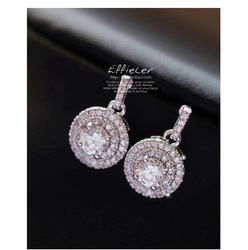 European 925 Sterling silver Needle round Earrings Crystal from Swarovski Simple Temperament Wild Anti-allergic